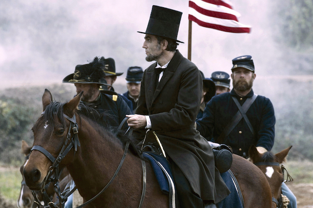 "FILE - This undated publicity photo provided by DreamWorks and Twentieth Century Fox shows Daniel Day-Lewis as President Abraham Lincoln looking across a battlefield in the aftermath of a terrible siege in this scene from director Steven Spielberg's drama ""Lincoln"" from DreamWorks Pictures and Twentieth Century Fox. (AP Photo/DreamWorks, Twentieth Century Fox, David James, File)"
